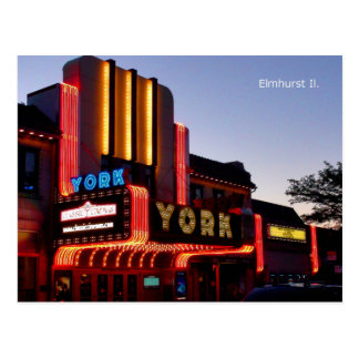 York Theater Marquee, Restored Gem In Elmhurst Il. Postcard