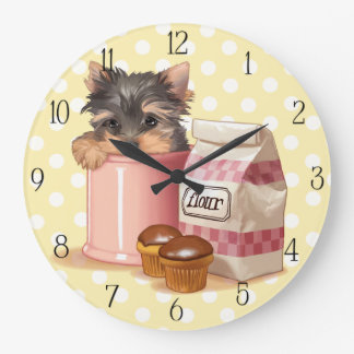 Yorkie and chocolate cupcakes wall clock