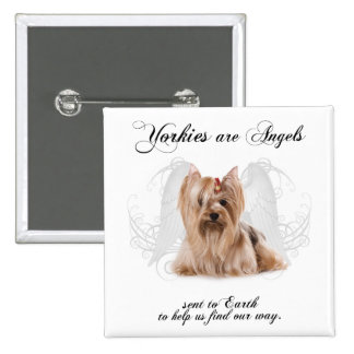 Yorkie Angel 2 Inch Square Button