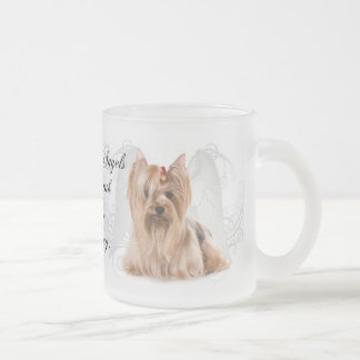 Yorkie Angel Frosted Glass Coffee Mug