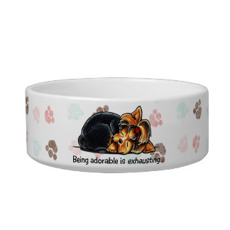 Yorkie Being Adorable Off-Leash Art™ Cat Food Bowl