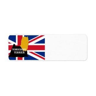 yorkie black and gold name silo on flag return address label