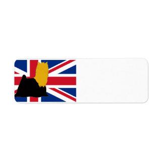 yorkie black and gold silo on flag return address label