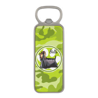 Yorkie; bright green camo, camouflage magnetic bottle opener