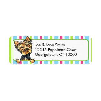 Yorkie Candy Stripes Return Address Label