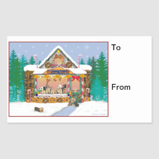 Yorkie Christmas Gingerbread Gift Tags Stickers
