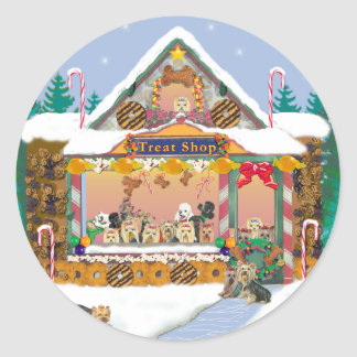 Yorkie Christmas Gingerbread House Classic Round Sticker