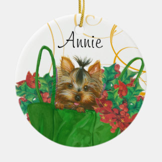 Yorkie Christmas Tree Ornament with Holly