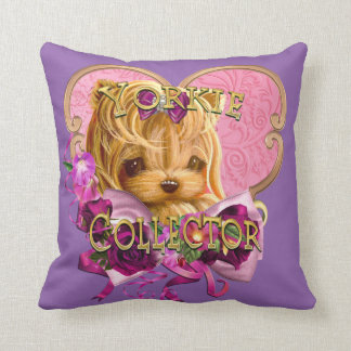 Yorkie Collector Pretty in Pink Throw Pillow