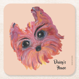 Yorkie Cute Dog Painting in Pink and Orange Square Paper Coaster