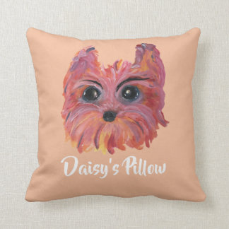 Yorkie Cute Dog Painting in Pink and Orange Throw Pillow