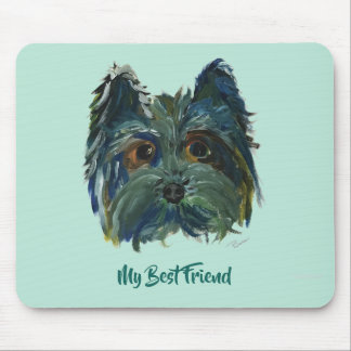 Yorkie Cute Puppy Painting in Blue and Green Mouse Pad