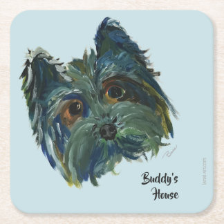 Yorkie Cute Puppy Painting in Blue and Green Square Paper Coaster