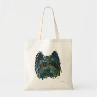 Yorkie Cute Puppy Painting in Blue and Green Tote Bag