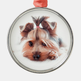Yorkie Dog Love Yorkies Yorkshire Terrier Metal Ornament