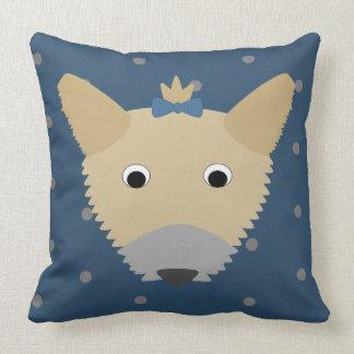 Yorkie Dog on Dots Throw Pillow