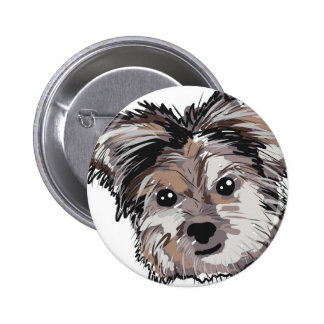 Yorkie Dog Pup Face Sketch 2 Inch Round Button