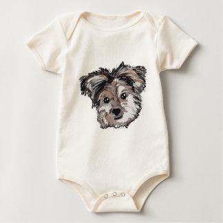 Yorkie Dog Pup Face Sketch Baby Bodysuit