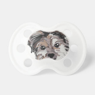 Yorkie Dog Pup Face Sketch Baby Pacifiers