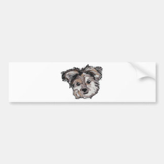 Yorkie Dog Pup Face Sketch Bumper Sticker