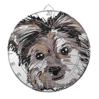 Yorkie Dog Pup Face Sketch Dartboard