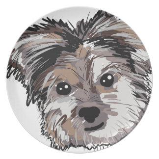 Yorkie Dog Pup Face Sketch Dinner Plate