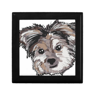 Yorkie Dog Pup Face Sketch Gift Box