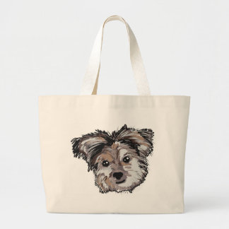 Yorkie Dog Pup Face Sketch Large Tote Bag