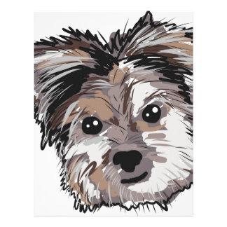 Yorkie Dog Pup Face Sketch Letterhead
