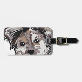 Yorkie Dog Pup Face Sketch Luggage Tag