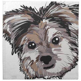 Yorkie Dog Pup Face Sketch Napkin