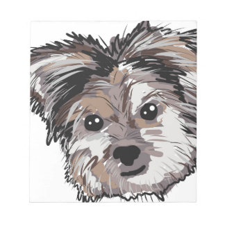 Yorkie Dog Pup Face Sketch Notepad
