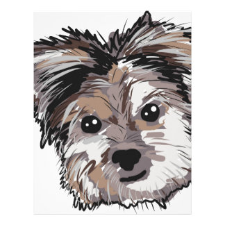 Yorkie Dog Pup Face Sketch Personalized Letterhead