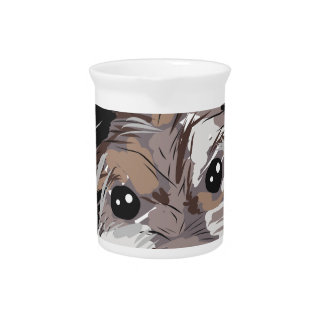 Yorkie Dog Pup Face Sketch Pitcher