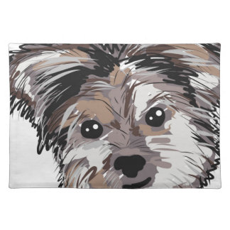 Yorkie Dog Pup Face Sketch Placemat