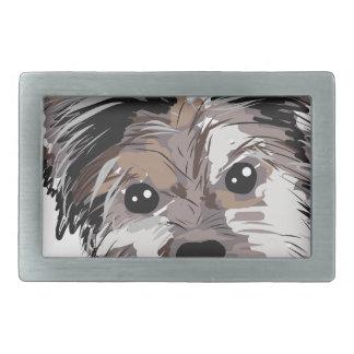 Yorkie Dog Pup Face Sketch Rectangular Belt Buckle