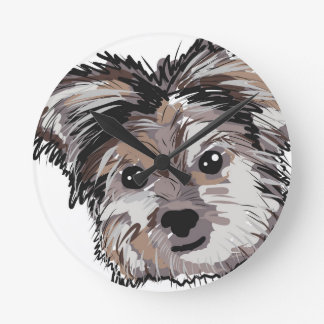 Yorkie Dog Pup Face Sketch Round Clock