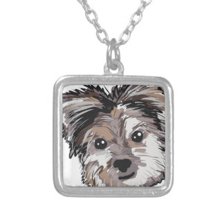 Yorkie Dog Pup Face Sketch Silver Plated Necklace