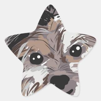 Yorkie Dog Pup Face Sketch Star Sticker