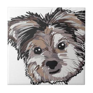 Yorkie Dog Pup Face Sketch Tile