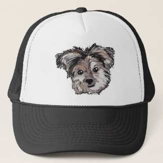 Yorkie Dog Pup Face Sketch Trucker Hat