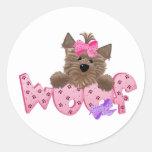 Yorkie Dog Woof Classic Round Sticker