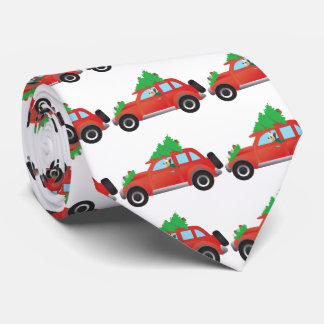 Yorkie Driving a Christmas Car with a tree on top Tie