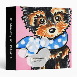 Yorkie Girl Pink Pet Name Keepsake Album 3 Ring Binders