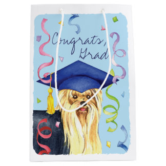 Yorkie Graduate Medium Gift Bag