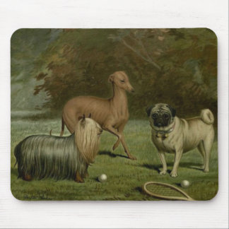 Yorkie Greyhound Pug Friends 1800s Artwork Mouse Pad