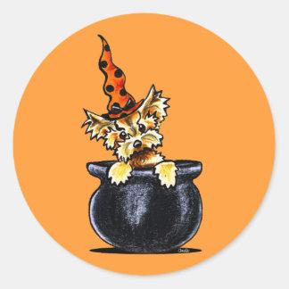 Yorkie Halloween Good Witch Off-Leash Art™ Round Sticker