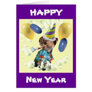 Yorkie Happy New Year Card