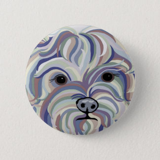 Yorkie in Denim Colors 2 Inch Round Button