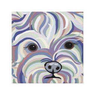 Yorkie in Denim Colors Canvas Print